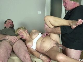 Muddy granny gets group-fucked