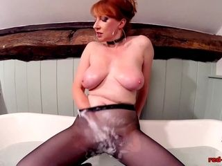 Crimson hard-core frolicking with her labia while in stocking