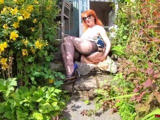 Big-chested honey crimson hard-core frigs herself in the garden