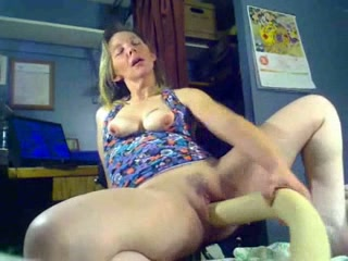 Wild blond haired housewife used a really huge dildo for masturbation
