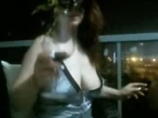 Trashy hooker with saggy boobs flashes her boobies