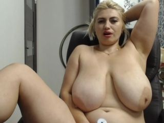 Highly fat housewife with good-sized sagging bra-stuffers - web cam display