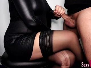 'Secretary Jerks Off New Boy at Work until Cum on Crossed Legs in Pantyhose #14'