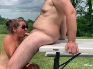 Open Wide and Swallow - Missy Sucks Cock Outdoors and Gets A Load To Swallow From George