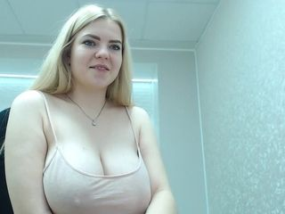 Beauty blond hair lady with big knockers