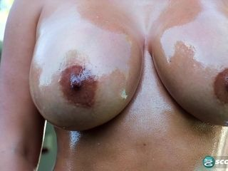 Big tits mature outdoor solo masturbation