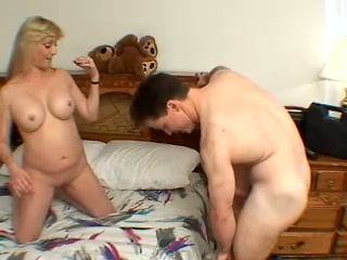 Torrid buxom blonde MILF fingers herself before giving her hubby a blowjob