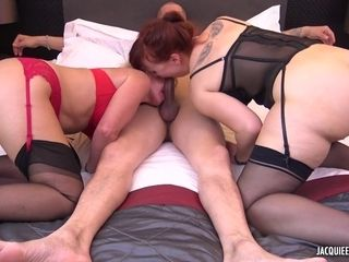 BDSM-styled threesome sex with old and young lesbians