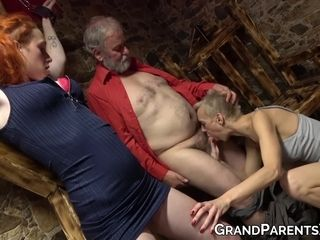 Older lady makes young hottie join for double blowjob