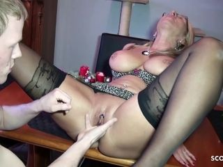 German Stepmom Teach Virgin Young Boy How to Fuck right