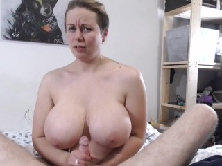 'Sloppy Handjob with Cum on Big Tits'