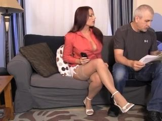 Bald man bounded annoying brunette mature wife