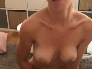 'Real Amateur, filmed on mobile. Hot French Milf touches herself and then sucks cock until facial'
