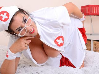 Phat boobed Lulu toying as nurse for you temperature