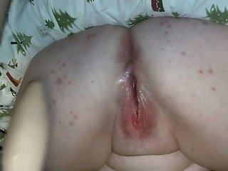Dirty mature wife stands upside down and masturbates with a sex toy