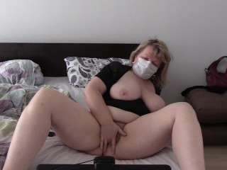 'Chubby milf at the webcam shakes a big ass, masturbates her hairy pussy.'