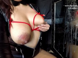 Lactating cougar autofellatio good-sized breasts, milk blasting,swooshing funbag milk