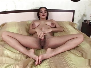 Ukrainian hairy prostitute Latoya fingering alone