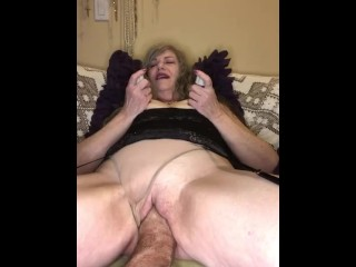 Mature GILF Wife Thick Nipple Vacuum While Getting Loose Pussy Stretched To Squirting Orgasm