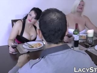 British grandma receives cum on her face after foursome