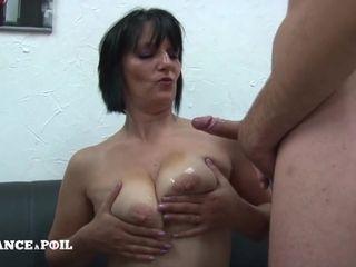 MMF Greedy mature mommy with big titties doing handjob Amateur threesome
