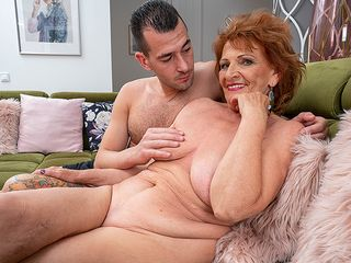 Insatiable grandmother bj's her toyboy's man sausage and gets her cooter thumped