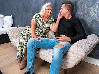 Mischievous granny deep-throats her toyboy's man meat and gets pounded rigid