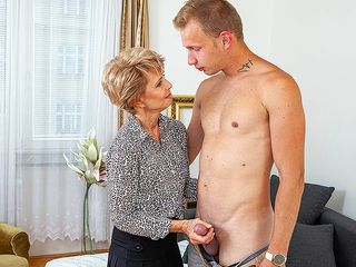 Uber-Sexy grannie lures youthful boy and deepthroats his stiffy before he nails her clean-shaved poon