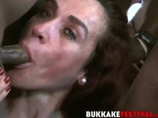 MILF devouring many fat cocks during wild party