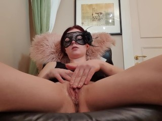 Swedish milf takes her hand and cums on huge dildo
