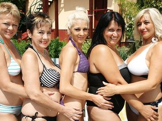 5 older and youthful lesbos go insatiable at the pool