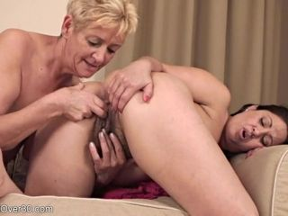 Mature nymphs in girl-on-girl activity