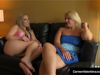 Hot Blondes Carmen Valentina &amp_ Carey Riley swept off one's feet &amp_ transgress Twats!