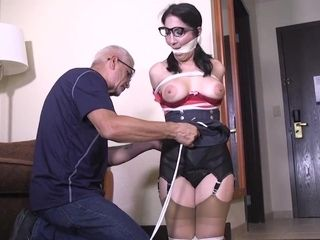 Hot MILF in glasses - bondage porn video