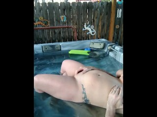 stud gets milf off body shaking orgasm squirt hot tub clit rubbing