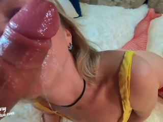 Tiny MILF Sloppy Facefuck and Oral Creampie - Best Hard Blowjob