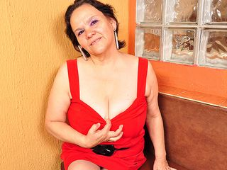 Thick boobed Brazilian mama frolicking with her plaything