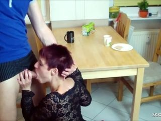 German STEP MOM Taboo Fuck with SON in kitchen
