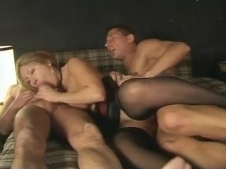 Hot MILF in stockings amateur gangbang video