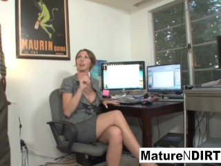 Buxom cougar accountant ravages her dearest customer