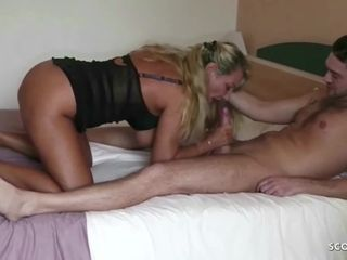 German cougar call girl bi-curious Jenni tear up youthful cherry man For currency