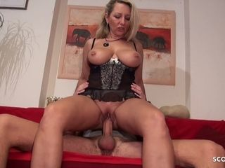 German Cougar Seduce Young Big Dick Neigbour to Fuck her