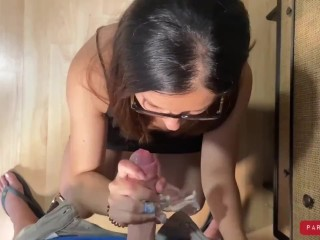 Step mom in boots caught step son masturbating on her lingerie and help him cum quick P2