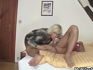 Granny rides her daughter's man cock as she g