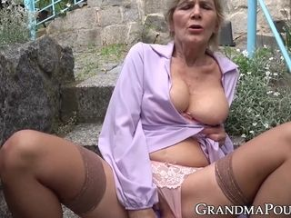 Natural tits mature blonde fingers her tight pussy outdoor