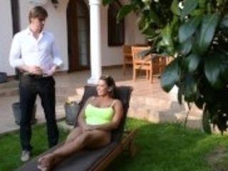 """Bikini babe Chloé Lamour titty fucks a big cock with her massive melons"""
