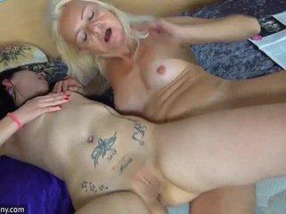 OldNanny skinny granny and girl using dildo