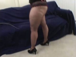 Busty blonde whorish wife poses in black lingerie and gives nice blowjob