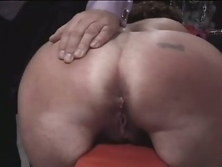 Chubby slave with huge breasts gets her ass whipped good