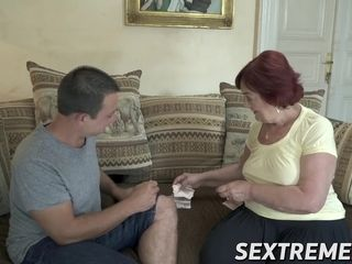 Ginger-haired grandmother and her stud plaything waste no time tearing up stiff